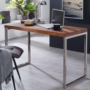 WOHNLING Schreibtisch GUNA Massivholz Sheesham Computertisch 120 x 60 cm Laptoptisch Landhaus Konsolentisch mit Metallbeinen