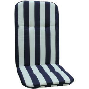 Gartenstuhl-Auflage Capri – Hochlehnerauflage für Gartenstühle, Dessin:Blue & White, Anzahl:1x