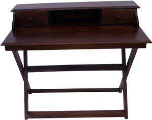 Schreibtisch mit Klappbarem Ständer & 2 Schubfächern - Modell 10, Braun, Holz, 92*109*60 cm, Schreibtische & Schreibpulte