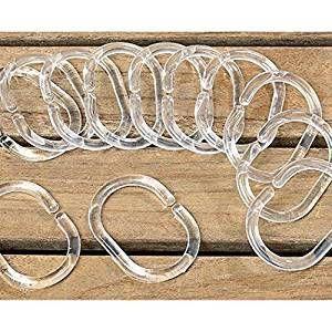 12 x Duschvorhangringe, Kunstoff, klar/transparent; 5,5 x 4,0cm