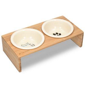Navaris Futternapf Katze mit Bambus Halter - Futterstation Set Keramiknapf für Katzen Hunde - Keramik Fressnapf Set Futterbar mit Holz Halterung