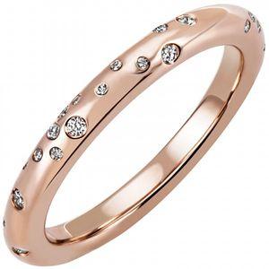 JOBO Damen Ring 56mm 585 Gold Rotgold Roségold 34 Diamanten Brillanten Diamantring