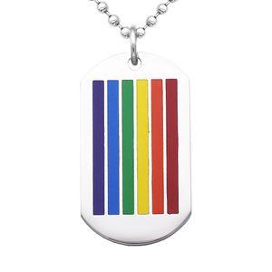 Edelstahl Hundemarke Regenbogen LGBT Lesben Gay Pride Anhänger Halskette Silber, Regenbogen