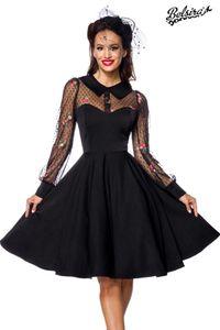 Vintage-Kleid mit Bubikragen, Farbe: Schwarz/Bunt, Größe: L