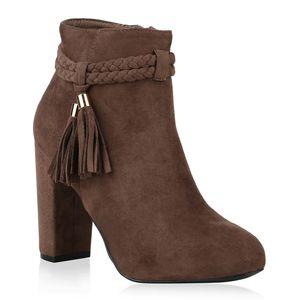 Mytrendshoe Damen Stiefeletten High Heels Quasten Leicht Gefütterte Schuhe 818485, Farbe: Khaki, Größe: 36