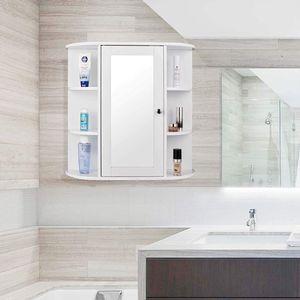 JEOBEST® Spiegelschrank Badschrank Hängeschrank Badschrank Spiegel mit Ablage 60x16x58cm weiß