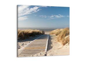 "Leinwandbild - 50x50 cm - ""Hinter der Düne, im Rascheln des Grases""- Wandbilder - Meer Strand Düne - Arttor - AC50x50-2657"