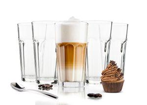 6 Cocktailgläser mit 6 Löffeln 425ml Kaffeegläser Teeggläser Longdrinkgläser (Mit Löffeln )