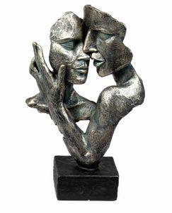 Formano Skulptur Liebe Büste Paar Objekt Deko Anthrazit Sockel Kunststein 716033