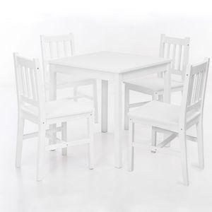 Esszimmer-Set EMIL 5 teilig Kiefer-Holz weiß Landhaus-Stil