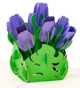 LIMAH® Pop Up 3D Geburtstagskarte, Glückwunschkarte mit 9 Tulpen, Dankeskarte, Abschiedskarte, Geburtstagskarte, Muttertagskarte, Valentienstagkarte