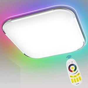 karpal 24W RGB LED Deckenleuchte, Deckenlampe Dimmbar, RGB Farbwechsel, Kalt bis Warmwei(2700-6500K), Schlafzimmerlampe, Wohnzimmerlampe, Kinderzimmerlampe mit Fernbedienung, IP44 Schutzart