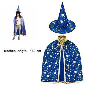 Kinder Halloween Kostüm, Hexe Zauberer Umhang mit Hut für Kinder