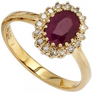JOBO Damen Ring 585 Gold Gelbgold 16 Diamanten 0,16ct. 1 Rubin rot Goldring Größe 58