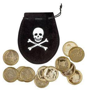 Kostüm Zubehör Beutel mit 12 Münzen zum Pirat Karneval Fasching