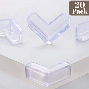 Eckenschutz und Kantenschutz für Kindersicherung, 20 Stück Transparent aus Kunststoff für Tisch- und Möbel-Ecken, Stoßschutz für Baby und Kinder