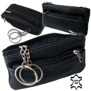 Sc7004B* Schlüsseltasche 12,5x7cm Leder schwarz 2Schlüsselringe J.Jones