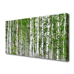 Tulup Leinwand-Bilder 100x50 Wandbild Canvas Kunstdruck Birken Wald Bäume Natur