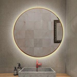 LED Badspiegel Rund 60cm Wandspiegel Badezimmerspiegel Anti-Fog für Badezimmer Schlafzimmer Make-Up (Warmweiß)