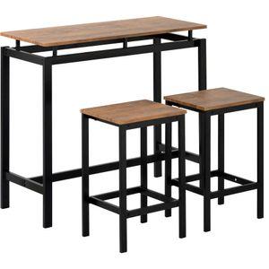 Bartisch-Set, Bar Tisch und Stühle aus Eisenholz, Küchentisch und Stühle, Stehtisch und Barhocker, Restaurant, Stehtisch aus dunklem Holz Dunkler Braun,Dieses Set enthält 1 Tisch mit Gegenhöhe und 2 Barhocker