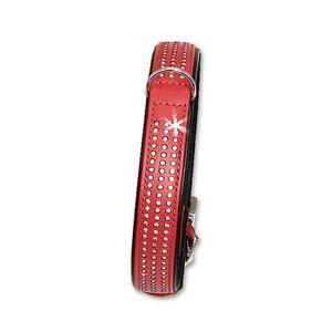 Karlie VINTAGE Strass Halsband 3-reihig - Rot 24 mm, 40 cm