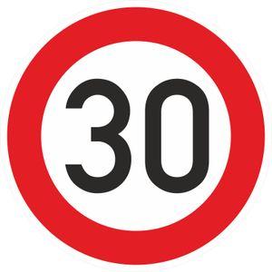 Aufkleber 40cm Zulässige Höchstgeschwindigkeit 30 km/h (STVO Zeichen 274-53) PVC