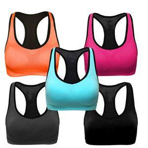 5PC Damen Racerback Sport-BHs - High Workout Activewear BH Größe:XL,Farbe:Bunt