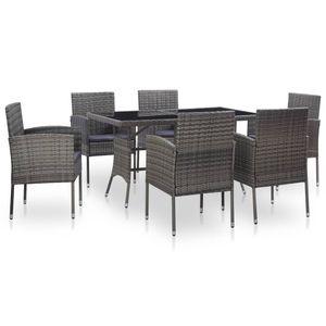 Huicheng Poly Rattan 7-tlg. Garten Essgruppe Sitzgruppe Esstischgruppe mit 6 Rattansessel + Glasplatte Tisch + Auflagen Grau