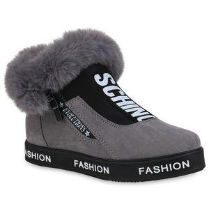 Mytrendshoe Damen Plateau Sneaker Warm Gefütterte Turnschuhe Winter Schuhe 824360, Farbe: Grau, Größe: 39