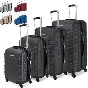 KESSER® 4er Reisekoffer Set Trolley Hartschale Hartschalenkoffer Koffer S-M-L-XL, Farbe:Schwarz