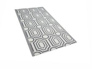 Outdoor Teppich Grau Weiß Polypropylen 90 x 180 cm Modern Jacquardgewebt Rechteckig