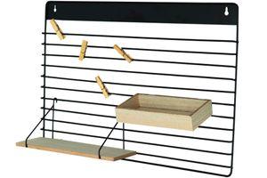 Metall Wandregal mit Holzablagen und Klammern 55,5 cm