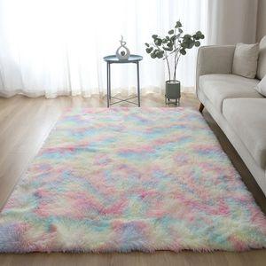 Hochflorteppiche Regenbogen flauschige Teppiche Anti-Rutsch Shaggy Area Rug Esszimmer Teppich Bodenmatte Home Schlafzimmer 50 * 160cm