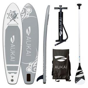 "Aukai® Stand Up Paddle Board 320cm ""Tribal"" SUP Surfboard aufblasbar + Paddel Surfbrett Paddling Paddelboard - grau"