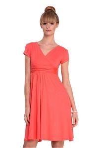 Damen Kleid Dress V-Ausschnitt , Koralle XS/S 34/36