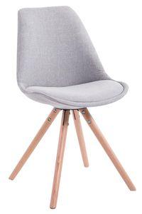 CLP Besucherstuhl Toulouse Stoff Rund mit Sitzpolster und runden Holzbeinen, Farbe:grau, Gestell Farbe:Natura