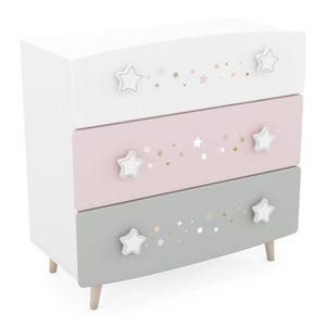 Kommode Sternschnuppe 3 Schubladen rosa / weiß B 87 cm H 87 cm Mädchen Kinder Jugendzimmer Schrank