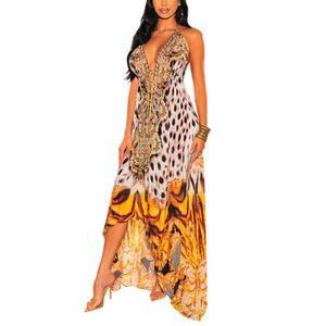 Sommer-Strandkleid Mit Langem Rock Für Frauen Im Sommerdruck,Farbe: Gelb,Größe:M