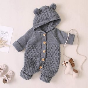 Newborn Baby Boy Girl Bear Ear Knitted Romper Jumpsuit Hooded Sweater Outfit Set (6-12Monate)