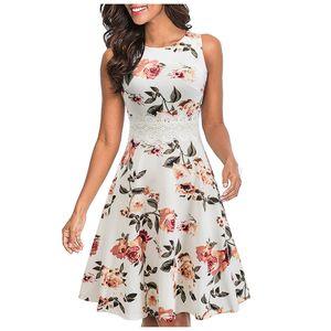 Damenmode und elegantes, ärmelloses, mit Spitze bedrucktes kleines Kleid mit Rundhalsausschnitt Größe:M,Farbe:Weiß