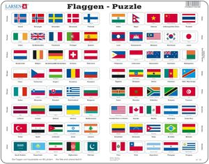 Larsen Puzzle Flaggen und Hauptstädte von 80 Ländern 80-tlg.