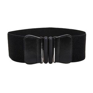 Mode Frauen Mädchen Elastische Stretch Schnalle Breite Taille Gürtel Taille Band Schwarz Farbe Schwarz