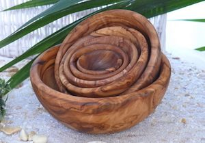 Schalen 6er Set, rund aus Olivenholz