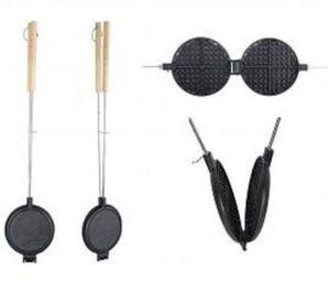 Esschert Design Waffeleisen Outdoor Lagerfeuer Kamin Grill Metall langer Griff