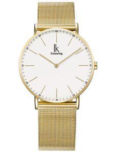 Alienwork Damen Herren Armbanduhr Quarz gold mit Metall Mesh Armband Edelstahl weiss Ultra-flach Slim-Uhr