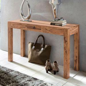 FineBuy Konsolentisch Massivholz Konsole mit 1 Schublade Schreibtisch 120 x 40 cm Landhaus Sideboard Farbe wählbar, Nachbildung/Front:Akazie
