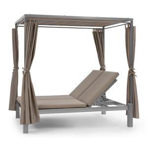 Blumfeldt Eremitage Double Sunbed - Stahl-Rahmen , einziehbares Sonnendach , 4 Seitenvorhänge , Sheer Luxury: Kissen mit hochwertigen Bezügen , Rückenlehnen verstellbar , max. 220 kg , Taupe