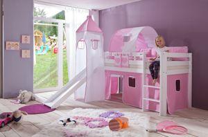 Relita - Halbhohes Spielbett Alex mit Rutsche/Turm/Tunnel Buche massiv weiß lackiert mit Stoffset rosa/weiß herz