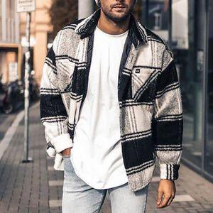 Herren Casual Lose Plaid Printed Revers Jacke Hemd Strickjacke Mantel,Farbe: Weiß,Größe:L