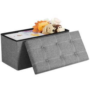 SONGMICS Sitztruhe, 80 Liter, bis 300 kg, Sitzbank Sitzhocker Fassungsvermögen Aufbewahrungsbox Leinenimitat faltbar belastbar hellgrau LSF001G02